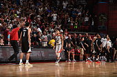 Denzel Valentine of the Chicago Bulls celebrates after tying the game against the Minnesota Timberwolves during the 2016 NBA Las Vegas Summer League...