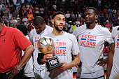 Denzel Valentine of the Chicago Bulls celebrates after winning the Summer League Championship against the Minnesota Timberwolves during the 2016 NBA...