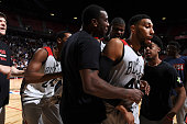 Denzel Valentine of the Chicago Bulls celebrates with teammates after winning the game against the Minnesota Timberwolves during the 2016 NBA Las...