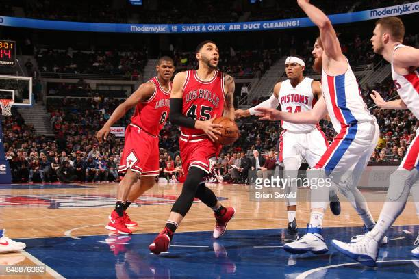 Denzel Valentine of the Chicago Bulls drives to the basket against the Detroit Pistons on March 6 2017 at The Palace of Auburn Hills in Auburn Hills...