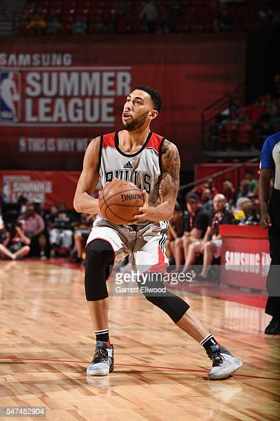 Denzel Valentine of the Chicago Bulls handles the ball against the Dallas Mavericks during the 2016 NBA Las Vegas Summer League game on July 14 2016...