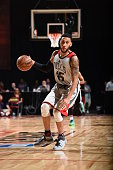 Denzel Valentine of the Chicago Bulls handles the ball against the Minnesota Timberwolves during the 2016 NBA Las Vegas Summer League on July 18 2016...