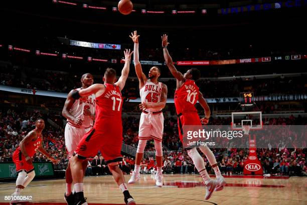 Denzel Valentine of the Chicago Bulls shoots the ball against the Toronto Raptors on October 13 2017 at the United Center in Chicago Illinois NOTE TO...