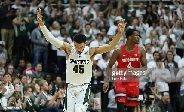 Denzel Valentine of the Michigan State Spartans celebrates a win over the Ohio State Buckeyes on March 5 2016 at the Breslin Center in East Lansing...