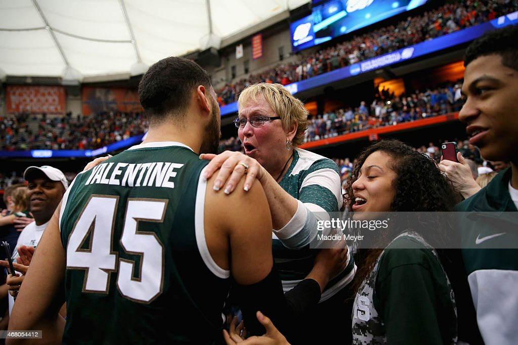 Denzel Valentine Of The Michigan State Spartans Celebrates With His Mother  Kathy After Defeating The Louisville