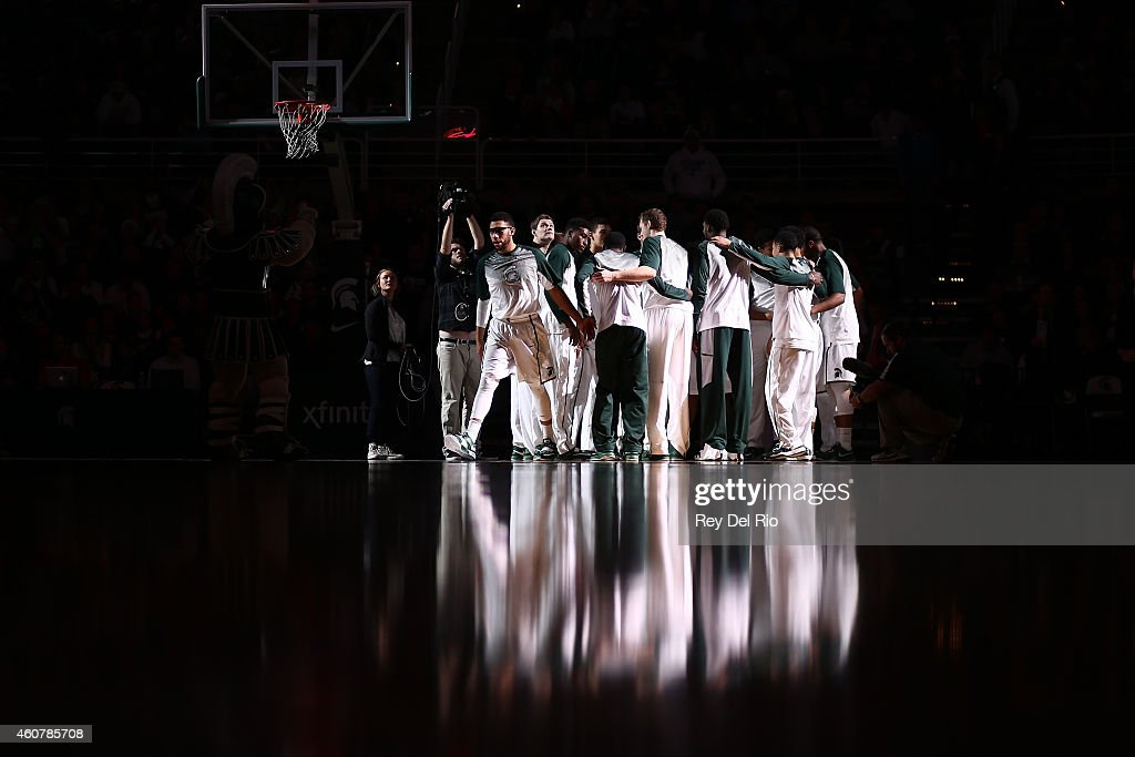 <a gi-track='captionPersonalityLinkClicked' href=/galleries/search?phrase=Denzel+Valentine&family=editorial&specificpeople=9980674 ng-click='$event.stopPropagation()'>Denzel Valentine</a> #45 of the Michigan State Spartans prior to the game against the Citadel Bulldogs at the Breslin Center on December 22, 2014 in East Lansing, Michigan.