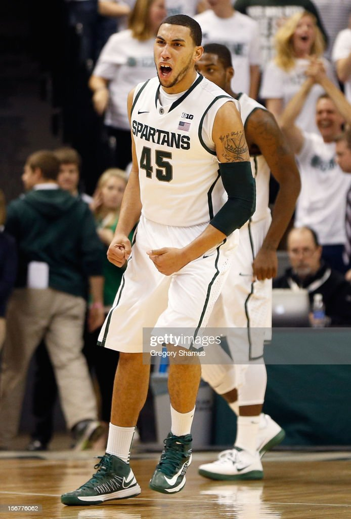 Denzel Valentine #45 of the Michigan State Spartans reacts after a second half dunk while playing the Boise State Broncos at the Breslin Center on November 20, 2012 in East Lansing, Michigan. Michigan State won the game 74-70.