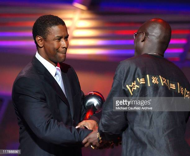 Denzel Washingon and George Weah winner of the Arthur Ashe Courage Award