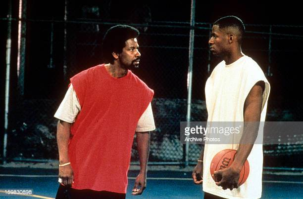 Denzel Washington and another man in a scene from the film 'He Got Game' 1998