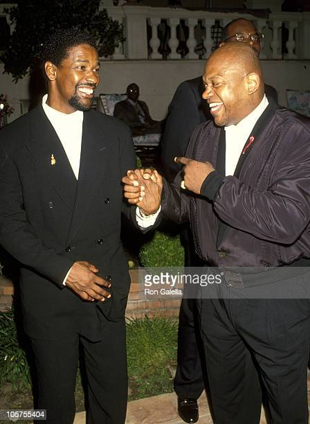 Denzel Washington and Charles Dutton during Gathering Place Center for Moms and Kids With AIDS Benefit May 1 1993 at Home of Dionne Warwick in...