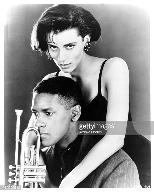 Denzel Washington and Cynda Williams in publicity portrait for the film 'Mo' Better Blues' 1990