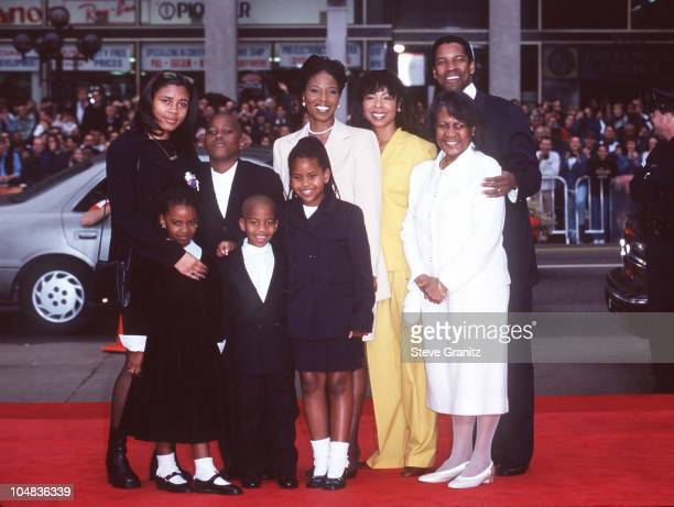 Denzel Washington and family during Denzel Washington Footprint Ceremony at Mann's Chinese Theatre in Hollywood California United States