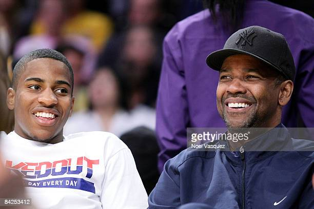 Denzel Washington and John David Washington attend the Los Angeles Lakers vs Miami Heat game at the Staples Center on January 11 2009 in Los Angeles...