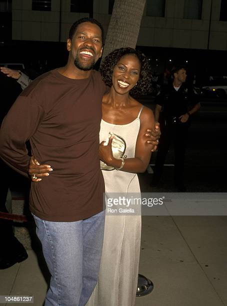 Denzel Washington and Pauletta Washington during 'Courage Under Fire' Los Angeles Premiere at The Academy in Beverly Hills California United States