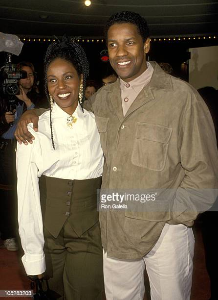 Denzel Washington and Pauletta Washington during Screening of 'The Pelican Brief' at Mann's Bruin Theater in Westwood CA United States