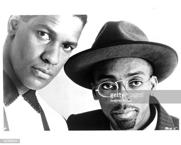 Denzel Washington and Spike Lee in publicity portrait for the film 'Mo' Better Blues' 1990