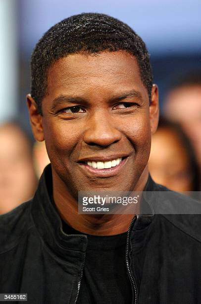 Denzel Washington appears on stage during MTV's Total Request Live at the MTV Times Square Studios April 21 2004 in New York City
