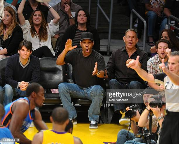 Denzel Washington attends the Los Angeles Lakers and Oklamhoma City Thunder Game 4 of the Western Conference Semifinals in the 2012 NBA Playoffs on...