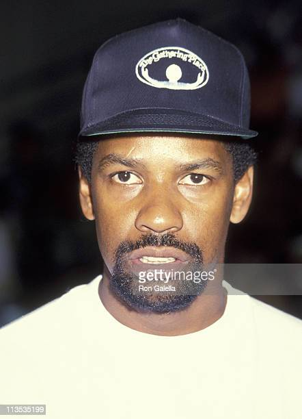 Denzel Washington during Celebrities vs LA Firefighters Charity Basketball Game at Loyola Marymount College in Westchester California United States