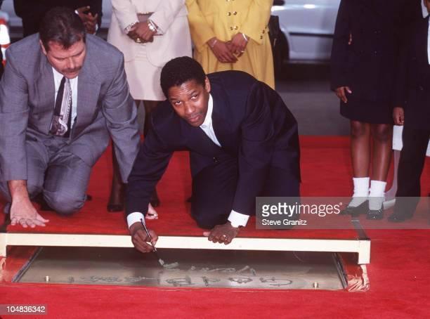 Denzel Washington during Denzel Washington Footprint Ceremony at Mann's Chinese Theatre in Hollywood California United States
