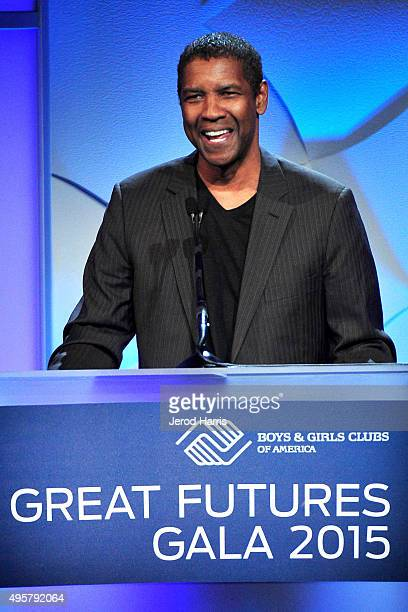 Denzel Washington speaks at the Boys and Girls Clubs of America's Annual Great Futures Gala at The Beverly Hilton Hotel on November 4 2015 in Beverly...