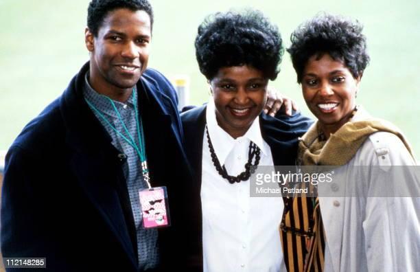 Denzel Washington with Winnie Mandela at the Nelson Mandela 70th Birthday Tribute Concert Wembley Stadium London 11th June 1988