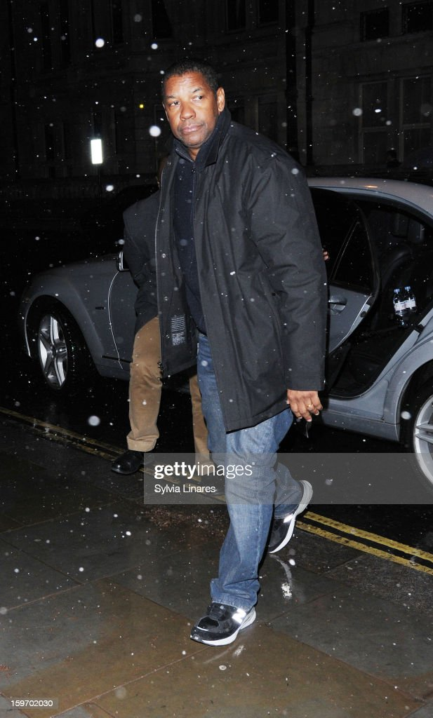 Denzel Washinton arriving back at his Hotel on January 18, 2013 in London, England.