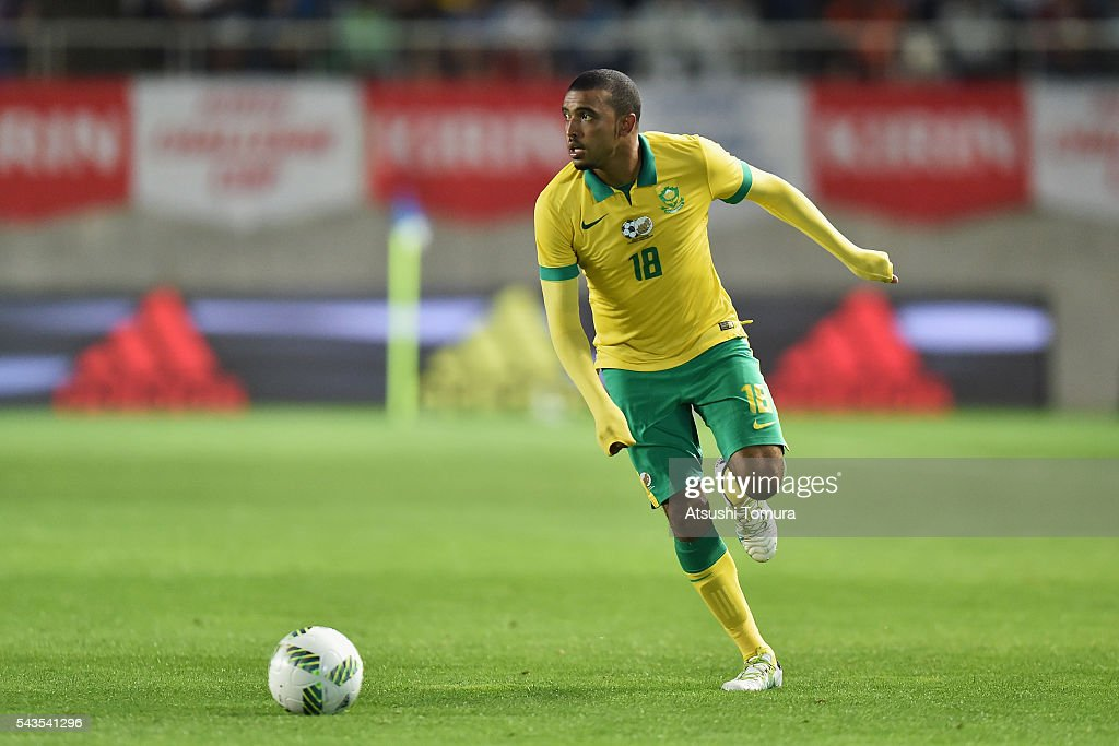 Deolin Mekoa of South Africa in action during the U-23 international friendly match between Japan and South Africa at the Matsumotodaira Football Stadium on June 29, 2016 in Matsumoto, Nagano, Japan.