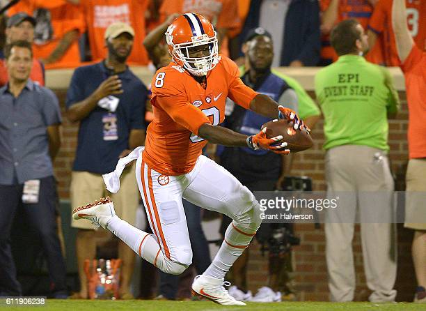 Deon Cain of the Clemson Tigers catches a second quarter touchdown reception against the Louisville Cardinals at Memorial Stadium on October 1 2016...