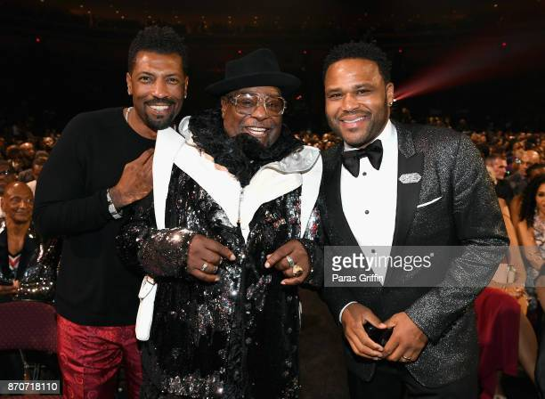 Deon Cole George Clinton and Anthony Anderson attend the 2017 Soul Train Awards presented by BET at the Orleans Arena on November 5 2017 in Las Vegas...