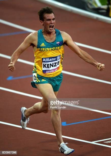 Deon Kenzie of Australia celebrates winning gold in the final of the mens 1500m T38 during day nine of the IPC World ParaAthletics Championships 2017...