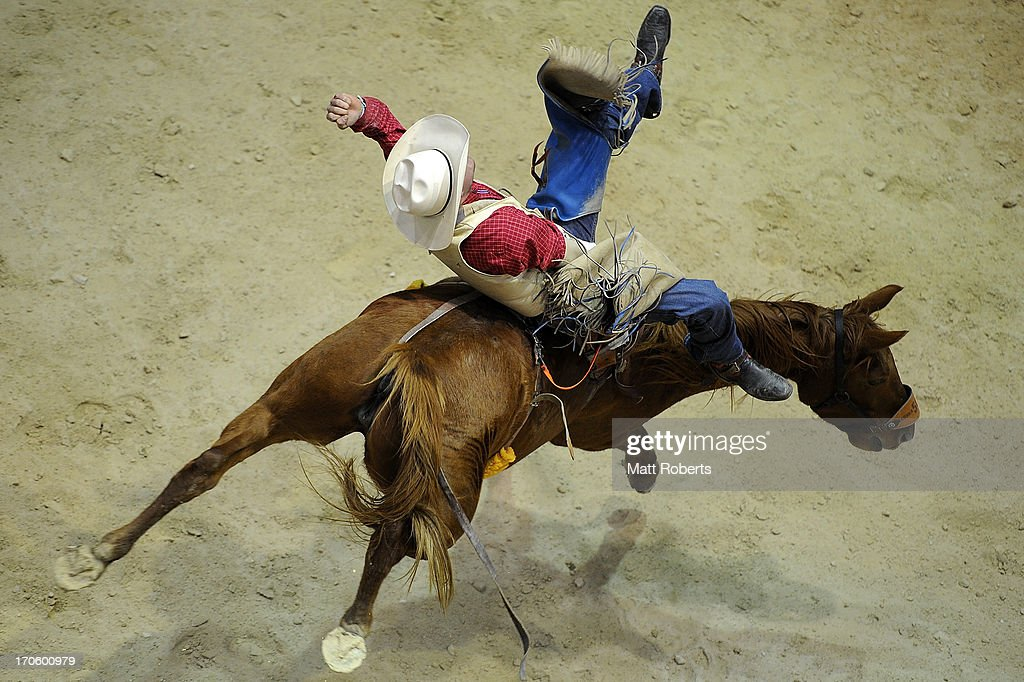 Deon Lane of Denman competes Bareback Bronc Riding during the National Rodeo Finals on June 15, 2013 on the Gold Coast, Australia.