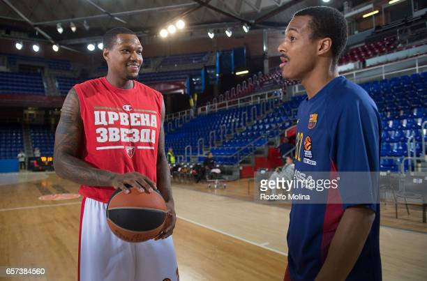 Deon Thompson #2 of Crvena Zvezda mts Belgrade talk to Xavier Munford #1 of FC Barcelona Lassa prior the 2016/2017 Turkish Airlines EuroLeague...