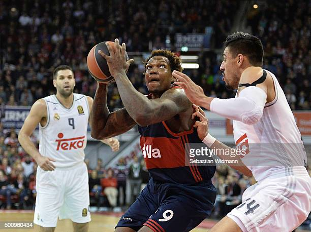 Deon Thompson #9 of FC Bayern Munich in action during the Turkish Airlines Euroleague Basketball Regular Season Round 9 game between FC Bayern Munich...