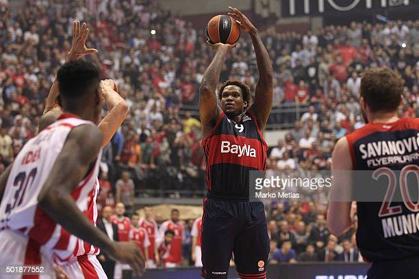 Deon Thompson #9 of FC Bayern Munich in action during the Turkish Airlines Euroleague Basketball Regular Season Round 10 game between Crvena Zvezda...