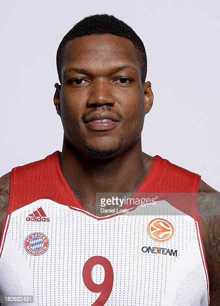 Deon Thompson #9 of FC Bayern Munich poses during the FC Bayern Munich 2013/14 Turkish Airlines Euroleague Basketball Media Day at AudiDome on...