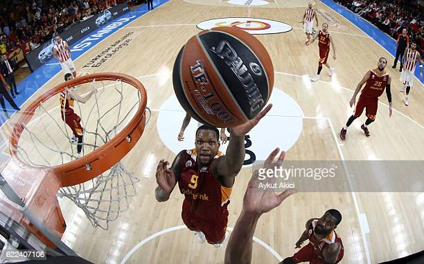 Deon Thompson #9 of Galatasaray Odeabank Istanbul in action during the 2016/2017 Turkish Airlines EuroLeague Regular Season Round 6 game between...
