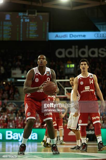 Deon Thompson and Nihad Djedovic of Muenchen in action during the match between FC Bayern Muenchen and Telekom Baskets Bonn at Audi Dome on February...