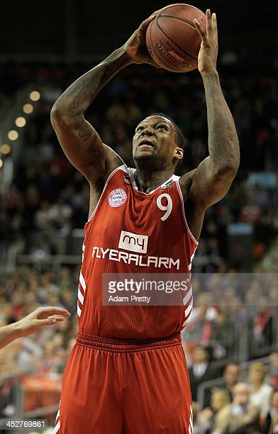 Deon Thompson of Bayern goes for a lay up during the FC Bayern Muenchen v Mitteldeutscher BC Basketball match at AudiDome on December 1 2013 in...