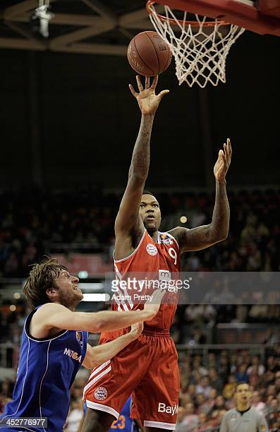 Deon Thompson of Bayern goes shoots during the FC Bayern Muenchen v Mitteldeutscher BC Basketball match at AudiDome on December 1 2013 in Munich...