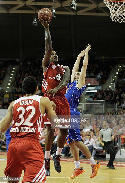 Deon Thompson of Bayern shoots during the FC Bayern Muenchen v Mitteldeutscher BC Basketball match at AudiDome on December 1 2013 in Munich Germany