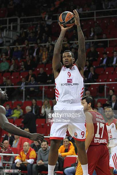 Deon Thompson of FC Bayern Munich in action during the 20132014 Turkish Airlines Euroleague Regular Season Date 5 game between Galatasaray Liv...