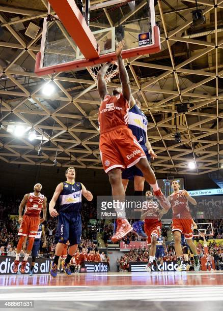 Deon Thompson of Muenchen and Jannik Freese of Oldenburg compete for the ball during the match between FC Bayern Muenchen and EWE Baskets Oldenburg...