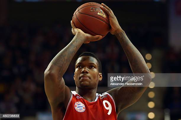 Deon Thompson of Muenchen during the Beko Basketball Bundesliga match between FC Bayern Muenchen and WALTER Tigers Tuebingen at AudiDome on November...