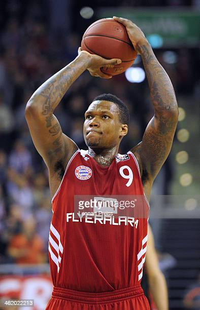 Deon Thompson of Muenchen in action during the Beko Basketball Bundesliga match between FC Bayern Muenchen and New Yorker Phantoms Braunschweig at...