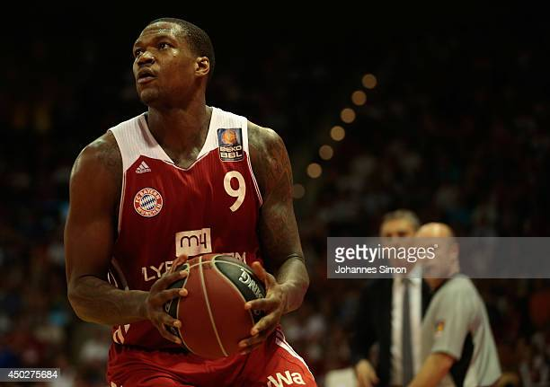 Deon Thompson of Muenchen in action during theBeko BBL Playoff Final Game 1 between FC Bayern Muenchen and ALBA Berlin at AudiDome on June 8 2014 in...