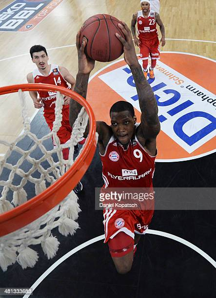 Deon Thompson of Muenchen scores during the Beko BBL Top Four 2014 semifinal match between FC Bayern Muenchen and ratiopharm Ulm at ratiopharm arena...