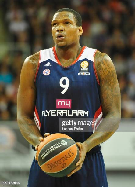 Deon Thompson of Munich in action during the Turkish Airlines Euroleague Top 16 Round 13 Group F basketball match between FC Bayern Muenchen and...