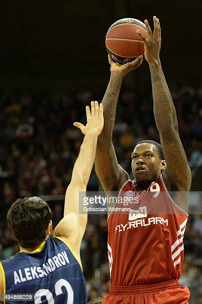 Deon Thompson of Munich throws the ball during game three of the 2014 Beko BBL Playoffs SemiFinal between FC Bayern Muenchen and EWE Baskets...
