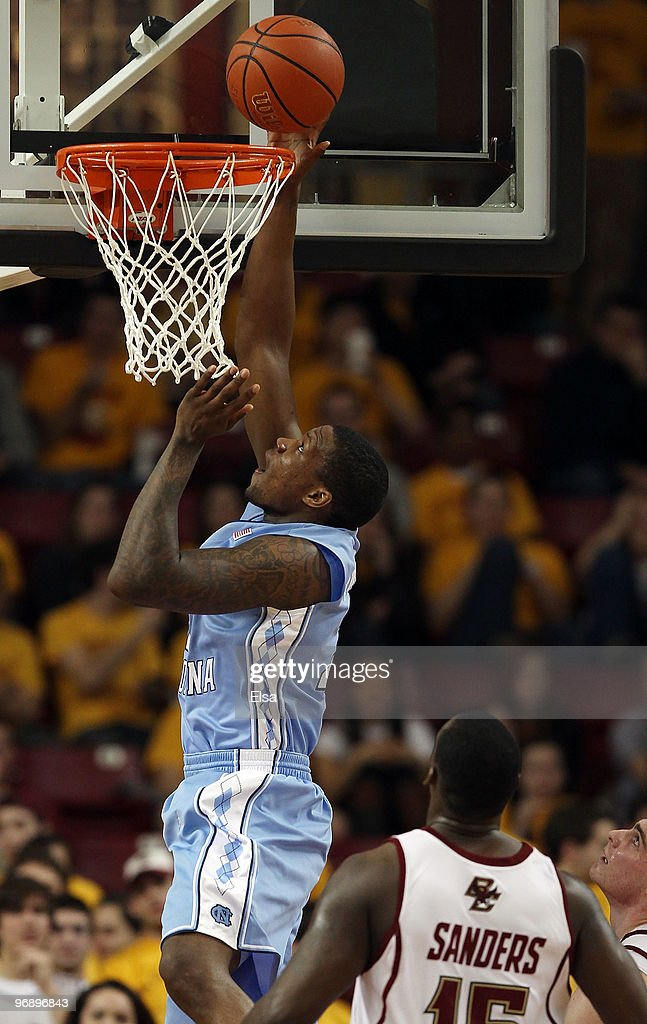 <a gi-track='captionPersonalityLinkClicked' href=/galleries/search?phrase=Deon+Thompson&family=editorial&specificpeople=4026290 ng-click='$event.stopPropagation()'>Deon Thompson</a> #21 of the North Carolina Tar Heels takes a shot as Rakim Sanders #15 of the Boston College Eagles defends on February 20, 2010 at Conte Forum in Chestnut Hill, Massachusetts.